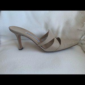 Manolo Blahnik Shoes - Manolo Blahnik Taupe Fabric Slides